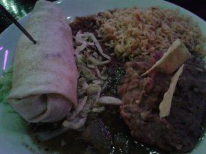 Burrito en restaurante mexicano