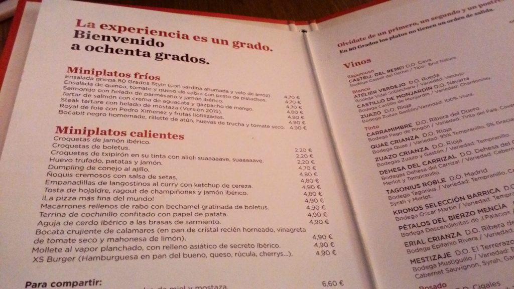 Ochenta Grados carta-restaurante-Ochenta-Grados