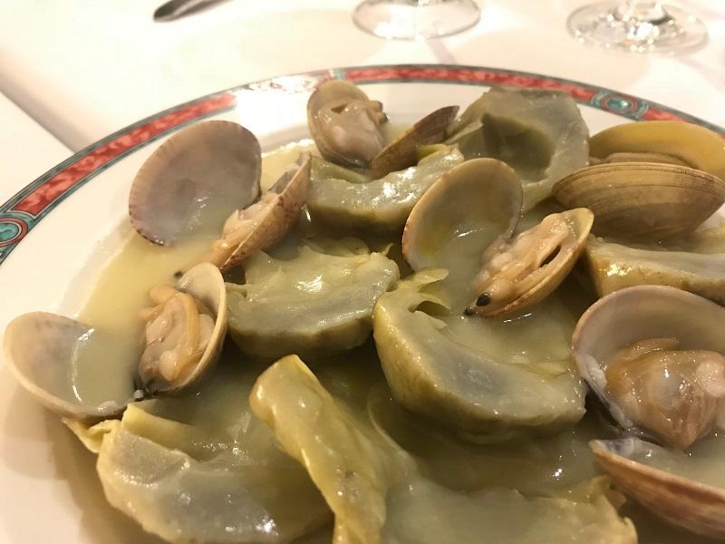 Restaurante OX's Alcachofas con almejas