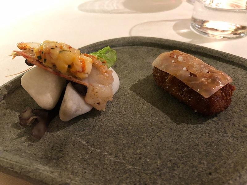 Restaurante Ikaro langostino en dos pases