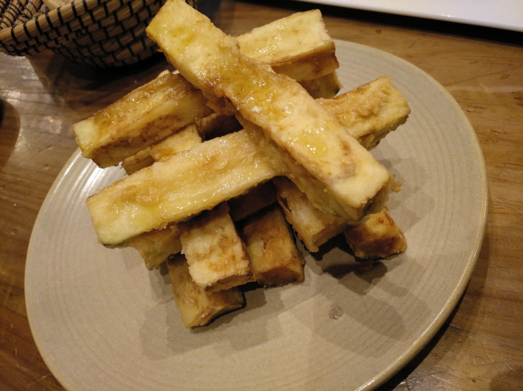 Bastones de berenjena con miel