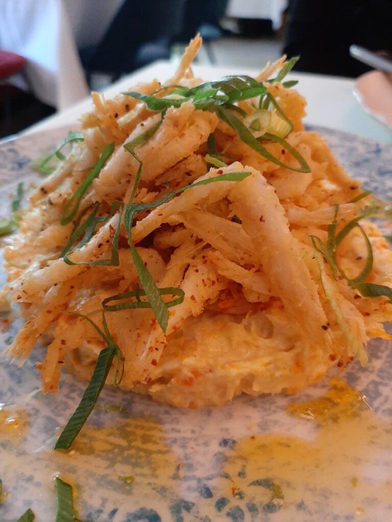 Polvora Ensaladilla y gambas cristal en tempura